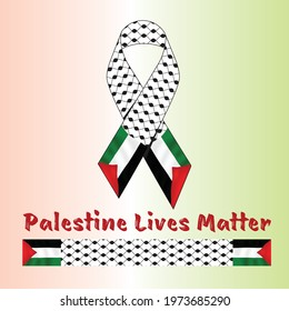 Palestine Ribbon Vector Design and Palestine Shemagh Vector Design