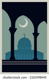 Palestine Vintage Poster. Jerusalem Old Illustration.