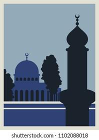 Palestine Vintage Poster. Vector Illustration.