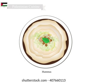 Palestinian Cuisine, Hummus or Traditional Spread Dip or Spread Made Form Chickpeas, Farlic, Tahini and Olive Oil. One of The Most Popular Dish in Palestine.