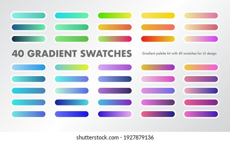 A palette of 40 gradient swatches for UI, app and graphic design kits