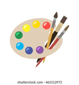 palette with acrylic paints and brushes. flat vector illustration isolated on white background