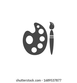 Palette Flat Icon Black and White Vector Graphic
