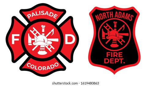 Palisade fire department logo. North Adams firefighter symbol. Eps 10
