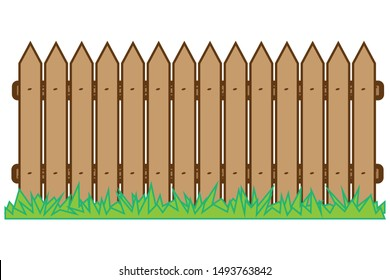 Palisade, wooden with grass. Construction wooden board silhouette in flat style on a white background.