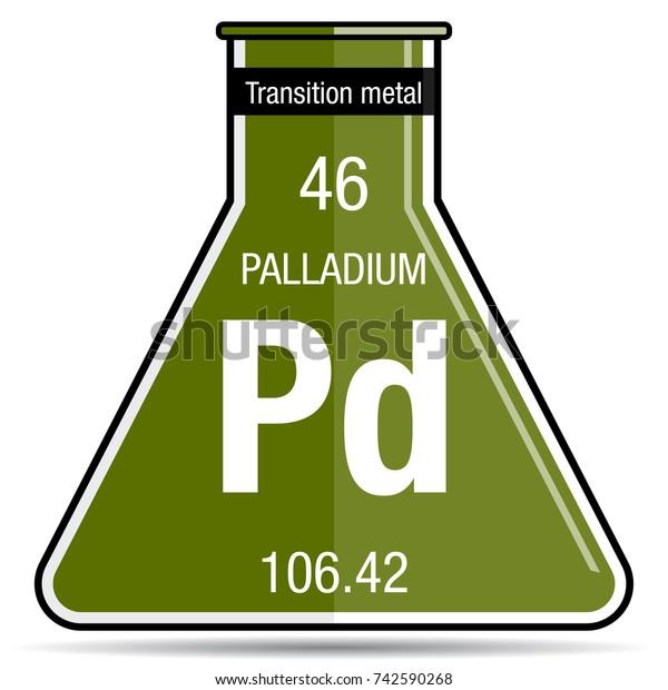 Palladium Symbol On Chemical Flask Element Royalty Free Stock Image