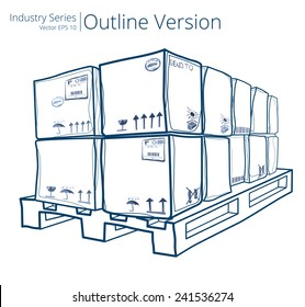Pallet with Boxes. Vector illustration of Pallet with Boxes, Outline Series.