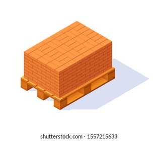 Pallet with bricks, isometric icon. Vector illustration isolated on a white background in flat style.