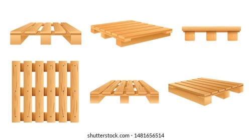 Pallet icons set. Cartoon set of pallet vector icons for web design