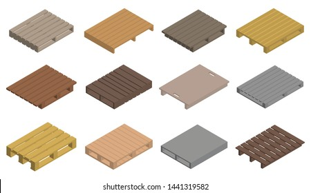 Pallet icons set. Isometric set of pallet vector icons for web design isolated on white background