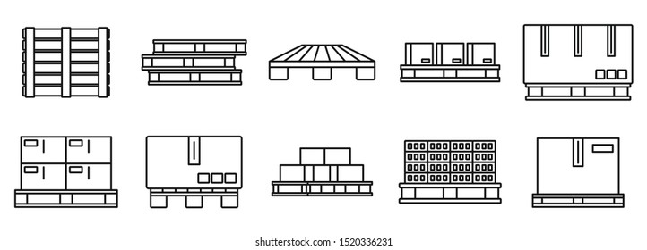 Pallet pan icons set. Outline set of pallet pan vector icons for web design isolated on white background