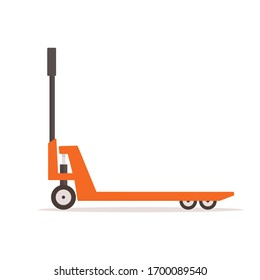 Pallet truck isolated of white background. Concept freight transportation. Flat design. Vector illustration.