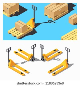 Pallet Truck or Pallet Jack. Storage Equipment Isometric Icon Set.