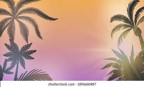 Palm background. Summer sunset, sunshine between branches. Seasonal party background, sunburst and tree silhouettes vector illustration
