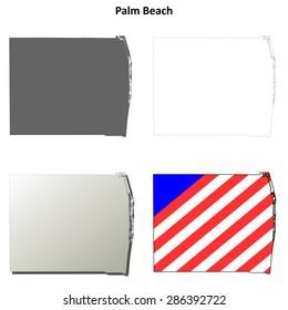 Palm Beach County (Florida) outline map set