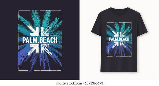 Palm Beach Florida stylish graphic t-shirt vector design, typography.