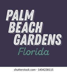 Palm Beach Gardens, Florida t-shirt printing design, typography, vector graphics, illustration, badge applique label.