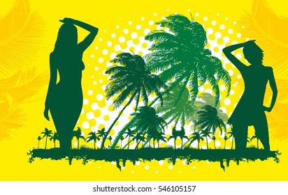 Palm beach girls graphic design vector art