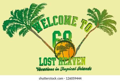 palm and beach vector art