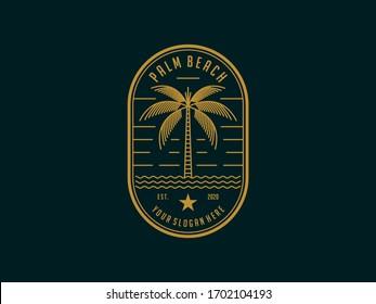 palm beach vintage logo design template vector