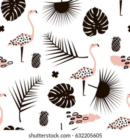 Palm branch trendy seamless pattern with hand drawn elements. Monstera leaf,pinapple,flamingo. Great for fabric, textile Vector Illustration