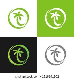 Palm coconut tree logo icon, vector illustration design