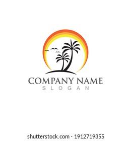 Palm or coconut  tree summer logo template vector illustration
