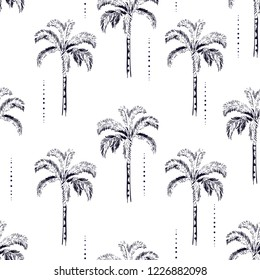 Palm and coconut trees silhouette on the white background. Vector seamless pattern with tropical plants design for fashion,fabric wallapaper and all prints