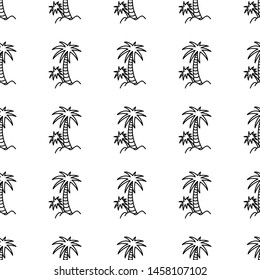 Palm doodle hand drawn seamless pattern. Summer wrapping template. Vector illustration.