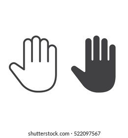 Palm, Hand line icon, outline and filled vector sign, linear and full pictogram isolated on white, logo illustration