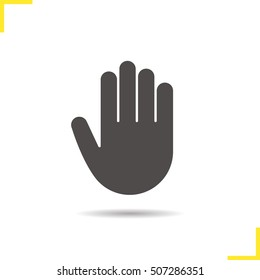 Palm icon. Drop shadow hand silhouette symbol. Stop, greeting and high five gesture. Negative space. Vector isolated illustration