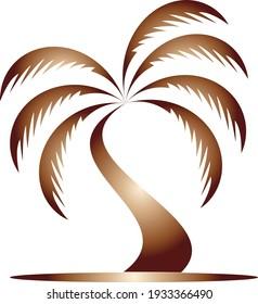 Palm illustration logo design vector