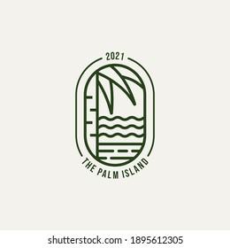 palm island minimalist line art logo template vector illustration design. simple modern hotel and resort logo concept