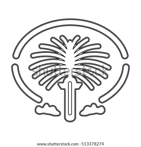 Palm Jumeirah Icon Outline Style Isolated Stock Vector Royalty Free