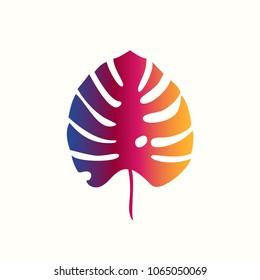 Palm leaf icon. Vector illustration