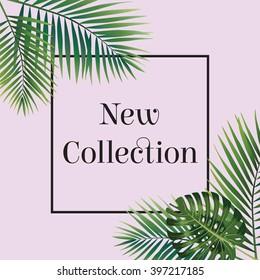 Palmenblatt. Neues Kollektionspopster. Webbanner oder Plakate für den elektronischen Handel, Online-Kosmetikshop, Mode