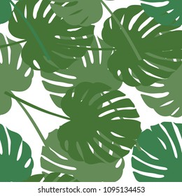 Palm leaf seamless pattern. Vector illustration. Decor element