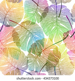 Palm leaf seamless pattern. Vector colorful, exotic, tropical illustration.