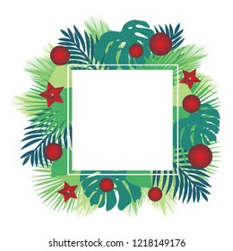 Palm leafs with new year decoration. Tropic Christmas and New year, vector greeting card
