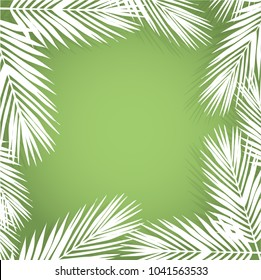 Palm leave border. Flat style. green and white. illustration design graphic