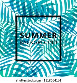 Palm leave pattern summer background. Vector illustration