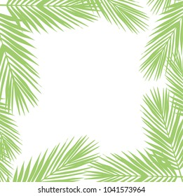 Palm leaves background. Flat style. green and white. illustration design graphic