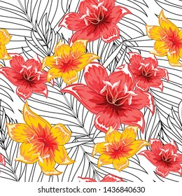 Palm leaves with blooming flowers. Tropical plants seamless pattern. Vector image.
