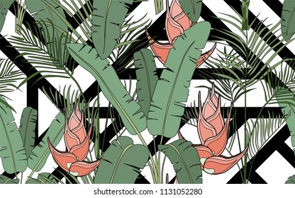 Palm leaves and exotic flowers composition. Vector illustration. Botanical seamless background. Digital nature art.