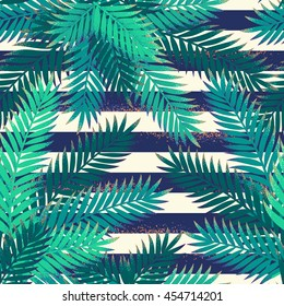 Palm leaves with grunge striped vest seamless pattern. Tropical background. Retro vector illustration