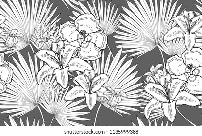 Palm leaves and hawaiian flowers. Big leaves and exotic flowers composition. Vector illustration. Botanical seamless wallpaper. Digital nature art. Cartoon style sketch. Grey background.