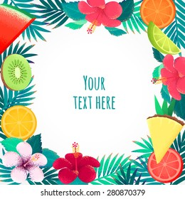 Palm leaves, hibiscus flower and tropical fruits frame. Retro vector illustration. Place for your text. Can be used as invitation, card, poster, flyer