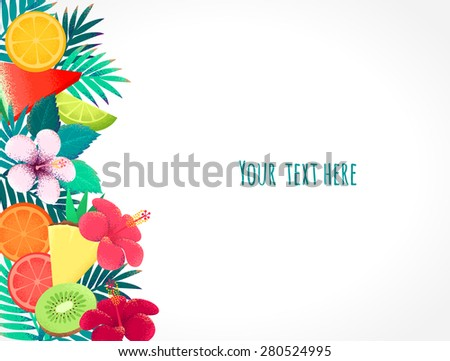 Palm Leaves Hibiscus Flower Tropical Fruits Stock Vector Royalty