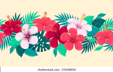Palm leaves and hibiscus flowers seamless stripe. Retro vector illustration