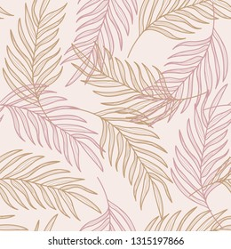 Palm leaves line hand drawn seamless pattern